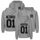Partner-Hoodies KING & QUEEN - Grau - Queen Gr. L -- King...
