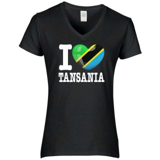 Damen T-Shirt - I LOVE TANSANIA -