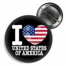 Button - I LOVE UNITED STATES OF AMERICA -