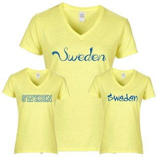 Damen T-Shirt - SWEDEN - gelb -